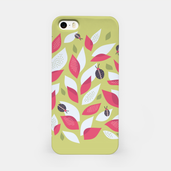 Plant With White Pink Leaves And Ladybugs iPhone Case imagen en miniatura