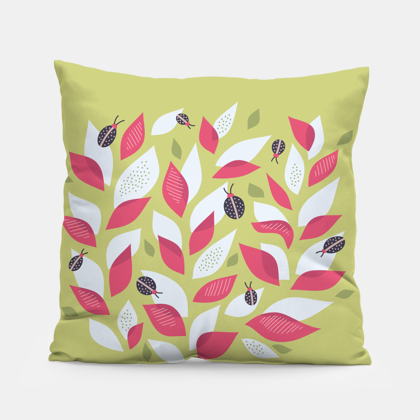 Image of Plant With White Pink Leaves And Ladybugs Pillow - Live Heroes