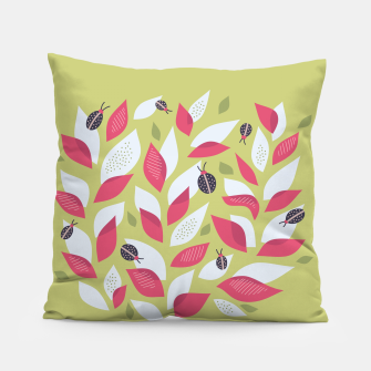 Plant With White Pink Leaves And Ladybugs Pillow thumbnail image