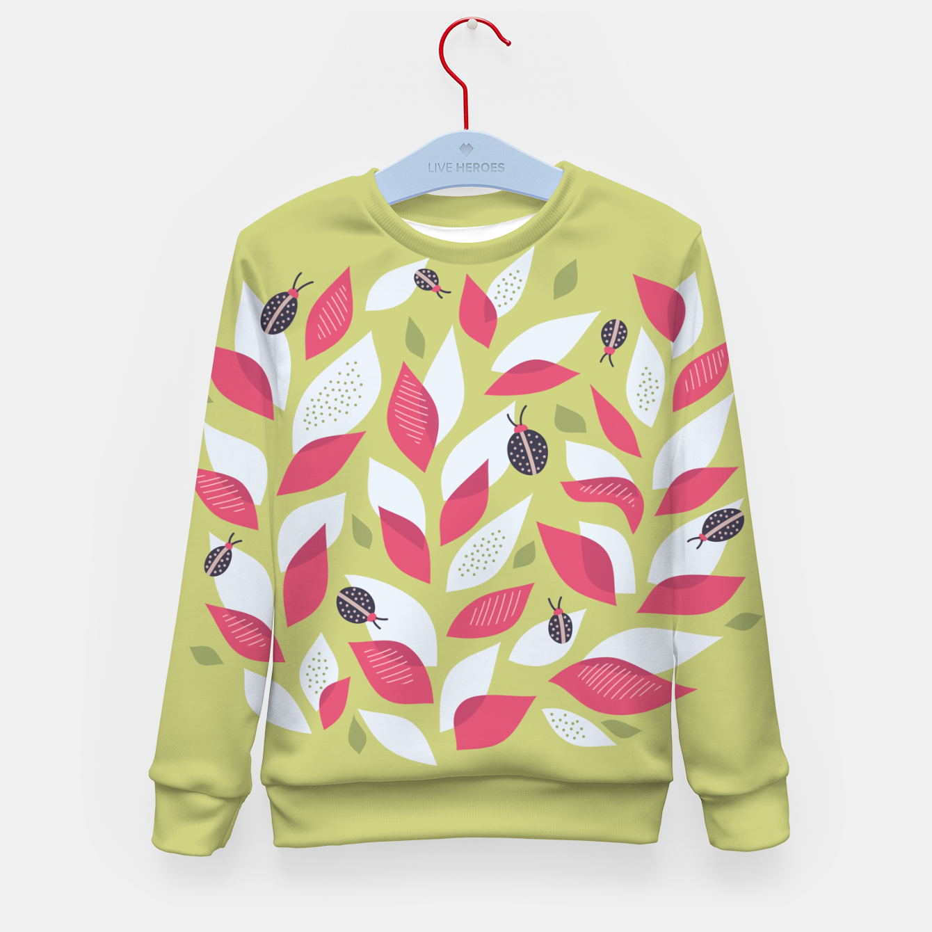 Foto Plant With White Pink Leaves And Ladybugs Kid's sweater - Live Heroes