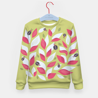 Plant With White Pink Leaves And Ladybugs Kid's sweater imagen en miniatura
