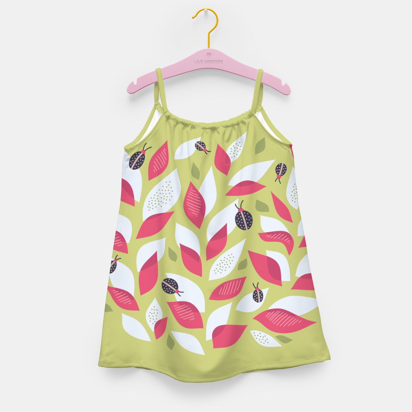 Image of Plant With White Pink Leaves And Ladybugs Girl's dress - Live Heroes