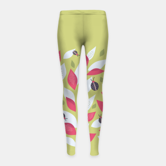 Plant With White Pink Leaves And Ladybugs Girl's leggings imagen en miniatura