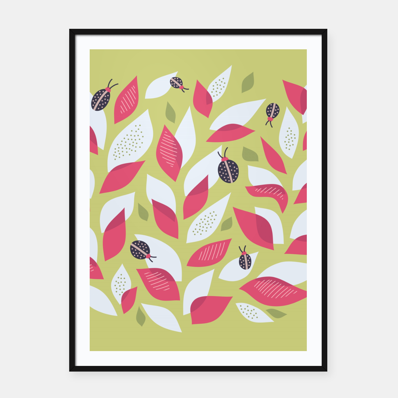 Imagen de Plant With White Pink Leaves And Ladybugs Framed poster - Live Heroes