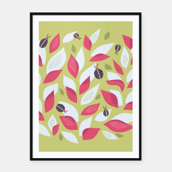 Plant With White Pink Leaves And Ladybugs Framed poster Bild der Miniatur