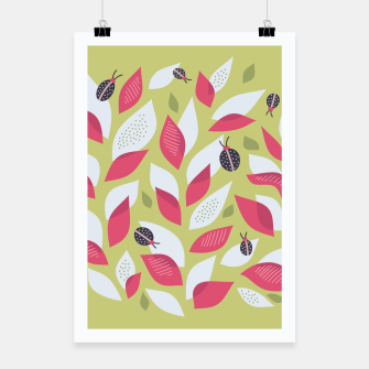 Plant With White Pink Leaves And Ladybugs Poster Bild der Miniatur