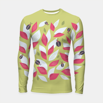 Plant With White Pink Leaves And Ladybugs Longsleeve rashguard  Bild der Miniatur