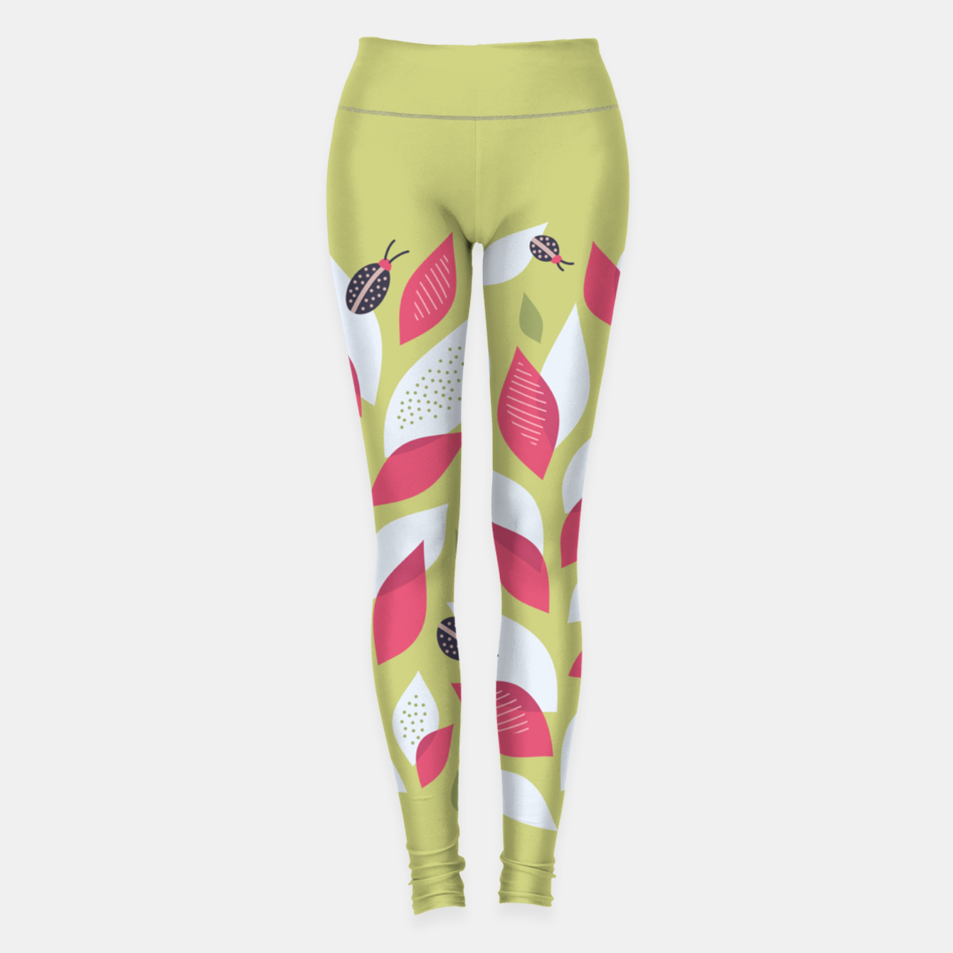 Image of Plant With White Pink Leaves And Ladybugs Leggings - Live Heroes