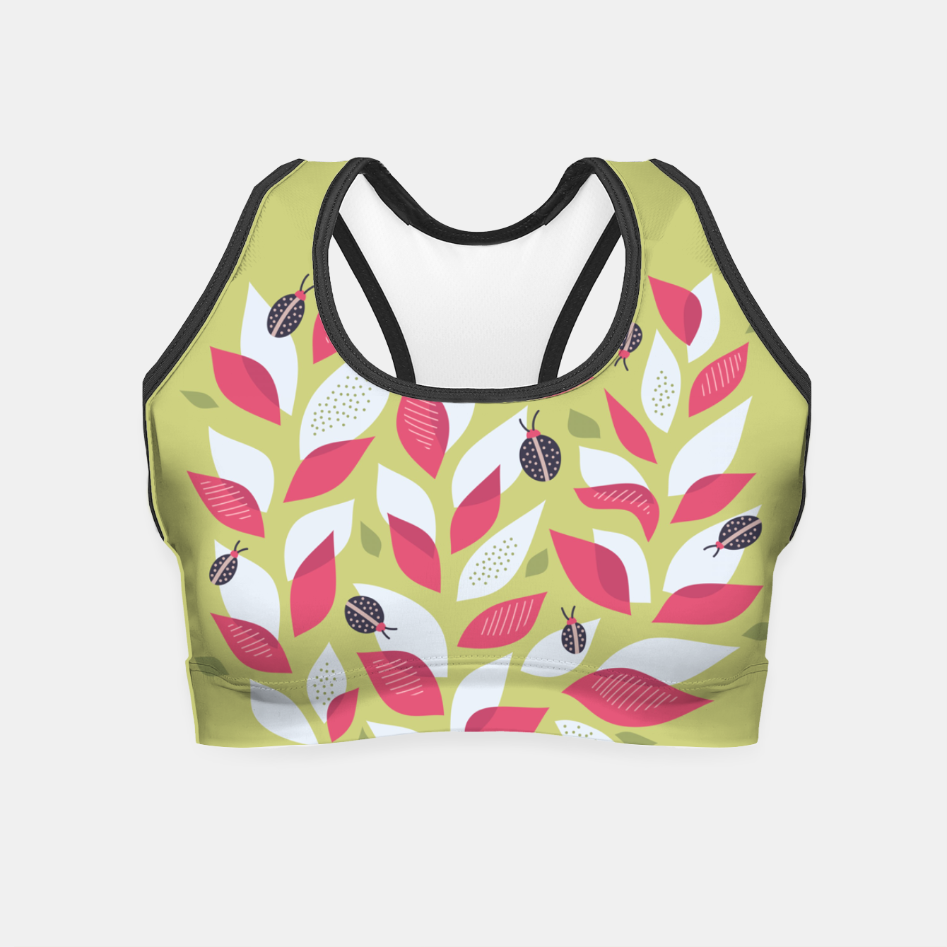 Image of Plant With White Pink Leaves And Ladybugs Crop Top - Live Heroes