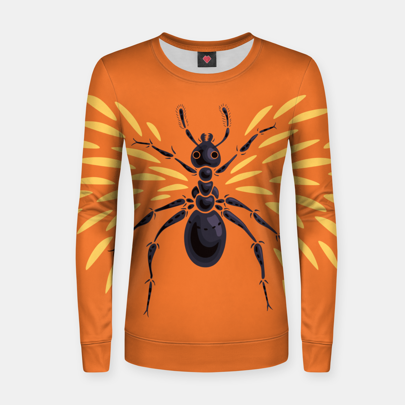 Image of Abstract Winged Ant In Orange Women sweater - Live Heroes
