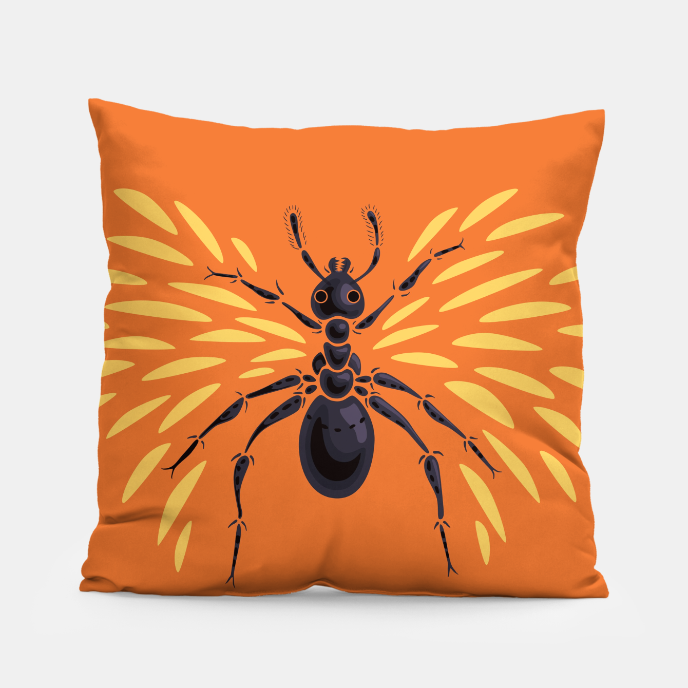 Image of Abstract Winged Ant In Orange Pillow - Live Heroes