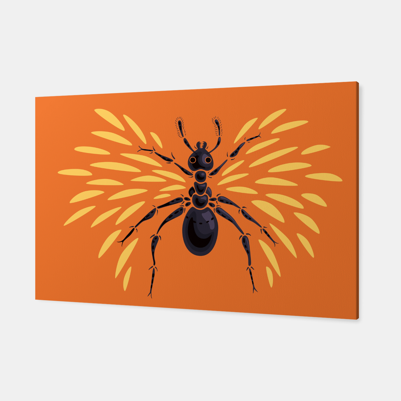 Image of Abstract Winged Ant In Orange Canvas - Live Heroes
