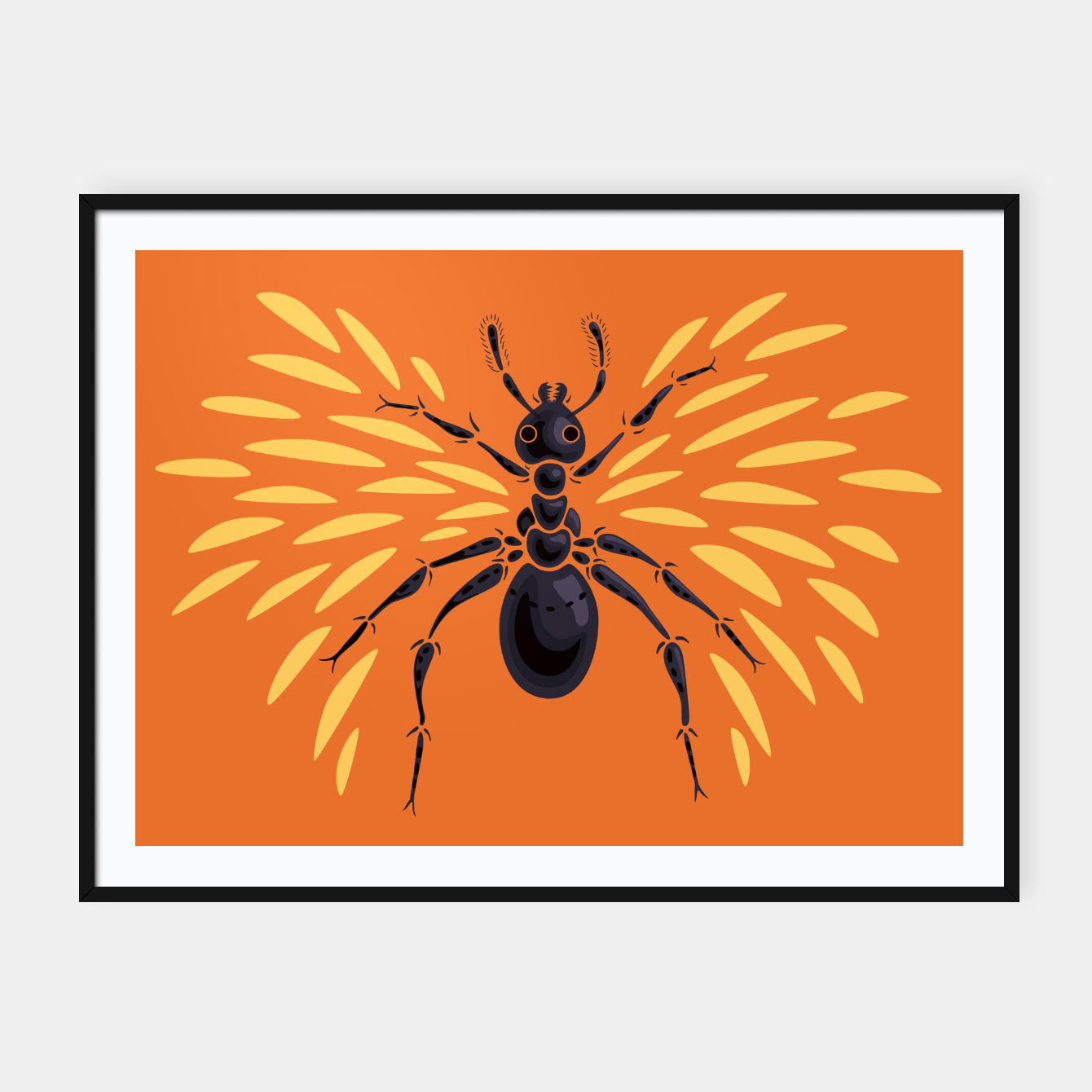 Image of Abstract Winged Ant In Orange Framed poster - Live Heroes
