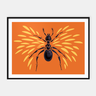 Abstract Winged Ant In Orange Framed poster imagen en miniatura