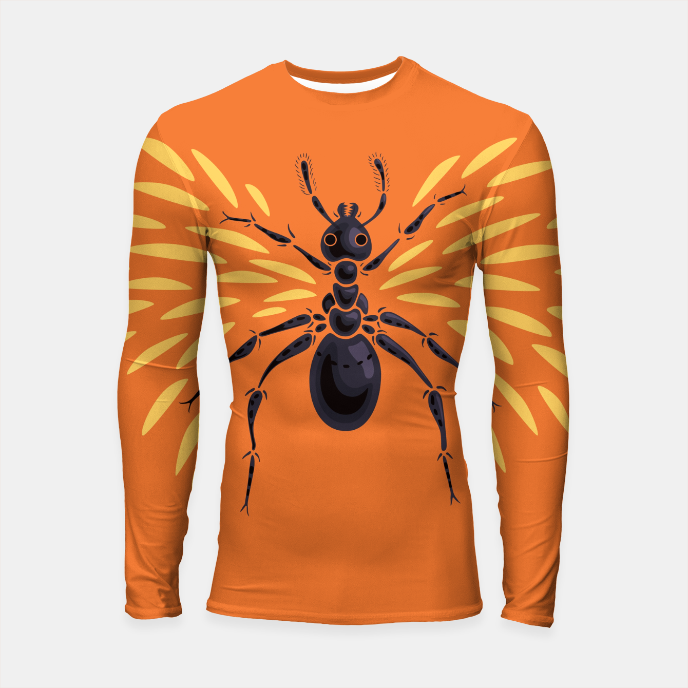 Image of Abstract Winged Ant In Orange Longsleeve rashguard  - Live Heroes