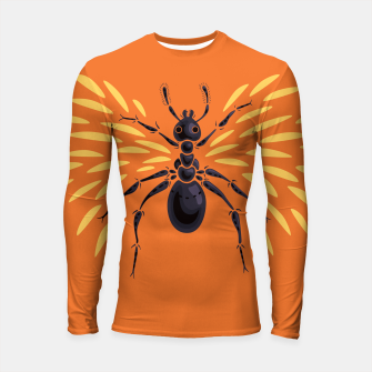 Miniatur Abstract Winged Ant In Orange Longsleeve rashguard , Live Heroes