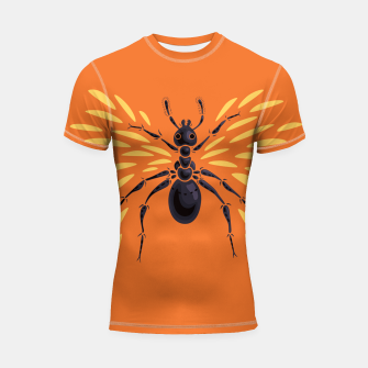 Miniatur Abstract Winged Ant In Orange Shortsleeve rashguard, Live Heroes