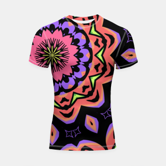 Thumbnail image of Bold Pop Art Mandala Collage Village Set A (010) Shortsleeve rashguard, Live Heroes