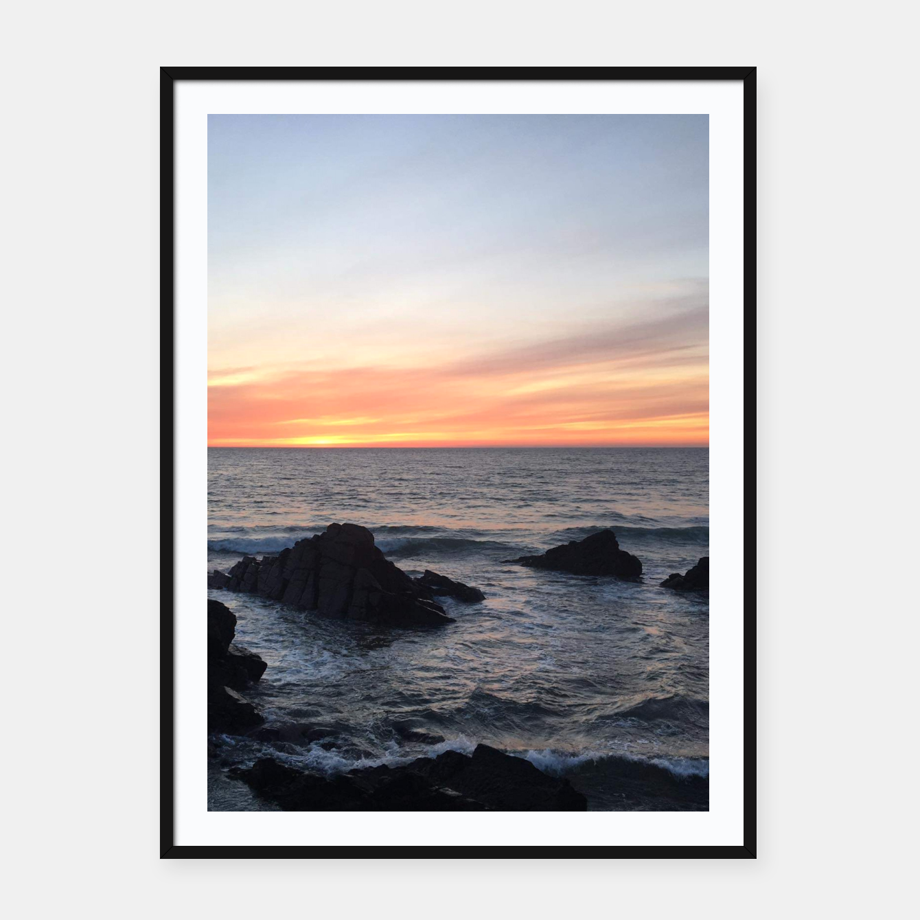 Image of Sunset over Putsborough Framed poster - Live Heroes