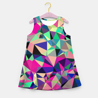 Thumbnail image of Purple Blue Fuchsia Geometric Polygons (LH001) Girl's summer dress, Live Heroes