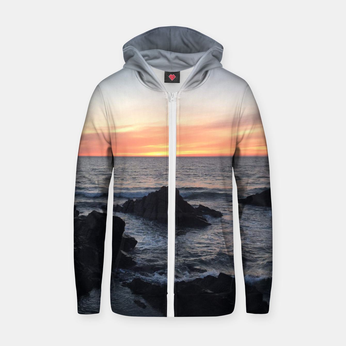 Image of Sunset over Putsborough Zip up hoodie - Live Heroes