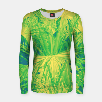Thumbnail image of Neon green palm leaves Frauen sweatshirt, Live Heroes