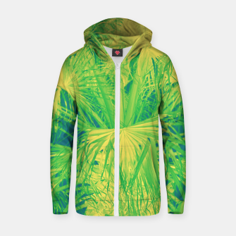 Thumbnail image of Neon green palm leaves Reißverschluss kapuzenpullover, Live Heroes