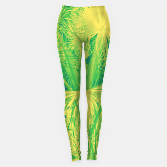Thumbnail image of Neon green palm leaves Leggings, Live Heroes