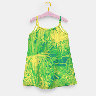 Thumbnail image of Neon green palm leaves Mädchenkleid, Live Heroes
