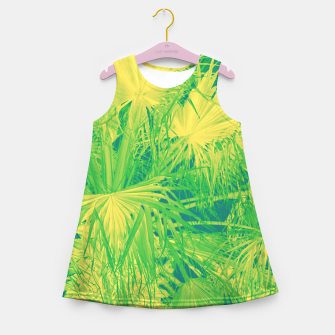 Thumbnail image of Neon green palm leaves Mädchen-Sommerkleid, Live Heroes