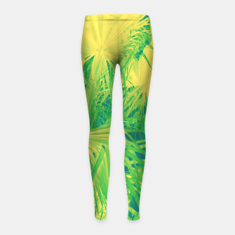 Thumbnail image of Neon green palm leaves Kinder-Leggins, Live Heroes