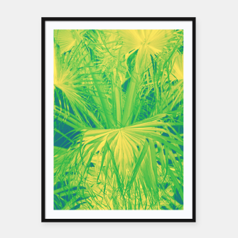 Thumbnail image of Neon green palm leaves Plakat mit rahmen, Live Heroes