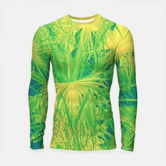 Thumbnail image of Neon green palm leaves Longsleeve rashguard, Live Heroes