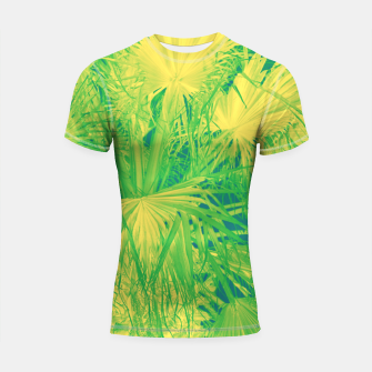 Thumbnail image of Neon green palm leaves Shortsleeve rashguard, Live Heroes