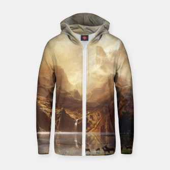 Among the Sierra Nevada, California by Albert Bierstadt Zip up hoodie thumbnail image