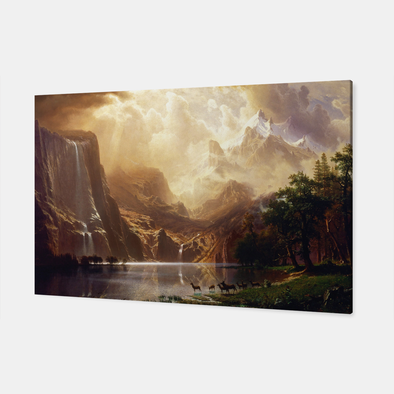 Image of Among the Sierra Nevada, California by Albert Bierstadt Canvas - Live Heroes