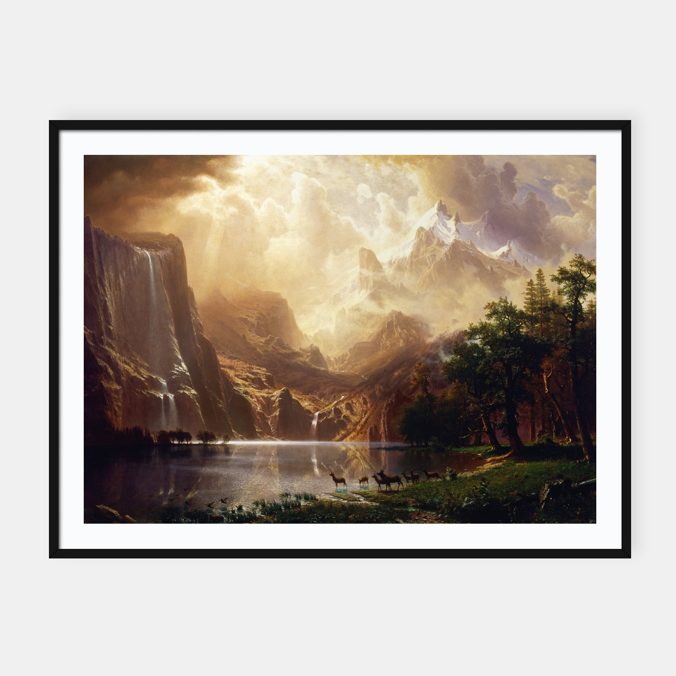 Image of Among the Sierra Nevada, California by Albert Bierstadt Framed poster - Live Heroes