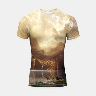Thumbnail image of Among the Sierra Nevada, California by Albert Bierstadt Shortsleeve rashguard, Live Heroes