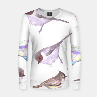 Imagen en miniatura de American bushtits, hummingbirds and tufted titmouse watercolor  Women sweater, Live Heroes