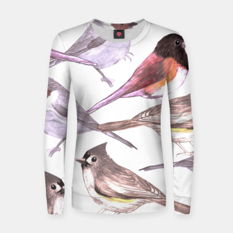 Imagen en miniatura de Wild titmouses bushtits and juncos in watercolor Women sweater, Live Heroes