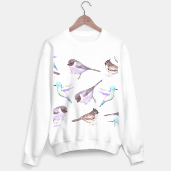 Miniatur American bushtits, hummingbirds and tufted titmouse watercolor  Sweater regular, Live Heroes