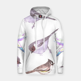 Miniatur American bushtits, hummingbirds and tufted titmouse watercolor  Hoodie, Live Heroes
