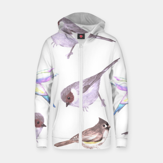 Miniatur American bushtits, hummingbirds and tufted titmouse watercolor  Zip up hoodie, Live Heroes