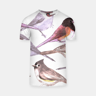 Miniatur Wild titmouses bushtits and juncos in watercolor T-shirt, Live Heroes
