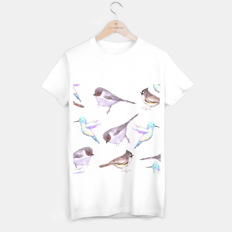 Miniatur American bushtits, hummingbirds and tufted titmouse watercolor  T-shirt regular, Live Heroes