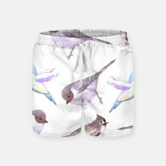 Miniatur American bushtits, hummingbirds and tufted titmouse watercolor  Swim Shorts, Live Heroes