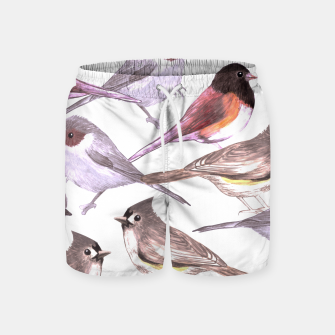 Imagen en miniatura de Wild titmouses bushtits and juncos in watercolor Swim Shorts, Live Heroes