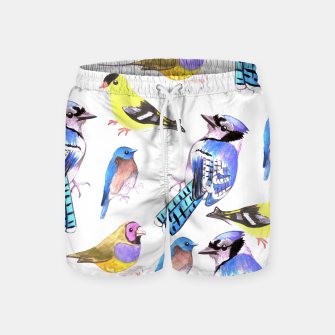 Imagen en miniatura de watercolor birds in tetrad color scheme Swim Shorts, Live Heroes