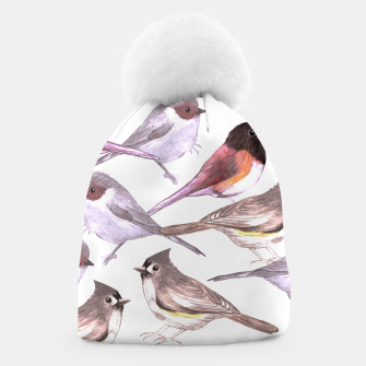 Miniatur Wild titmouses bushtits and juncos in watercolor Beanie, Live Heroes