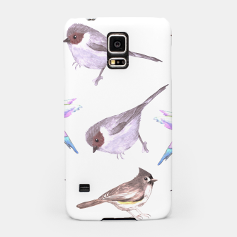 Miniatur American bushtits, hummingbirds and tufted titmouse watercolor  Samsung Case, Live Heroes